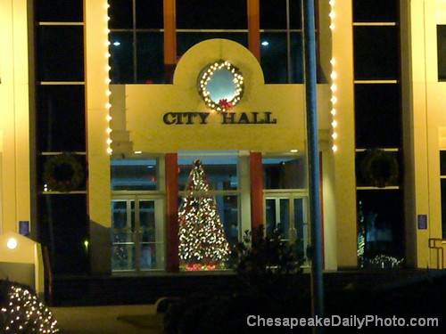 Christmas Tree Peek - Chesapeake City Hall Building