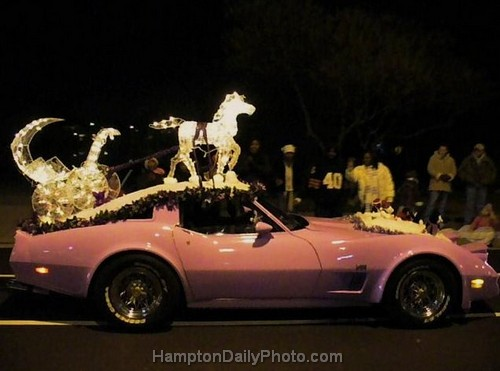 Pink Corvette with Horse and Carriage