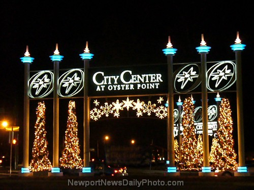 Entrance to City Center at Oyster Point from Jefferson Avenue, Decorated for the Holidays